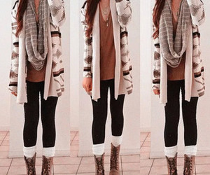 boots, cardigan, and girly things image