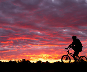 bike, mountains, and sunset image