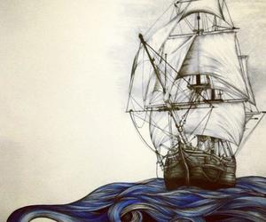 drawing, ship, and waves image