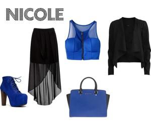 black, blue, and fashion image