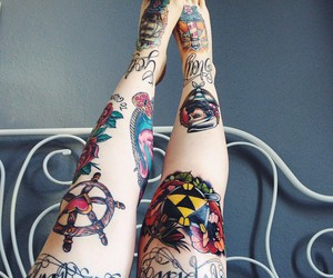 inked, legs, and tattoo image