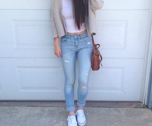 blue jeans, fashion, and white top image