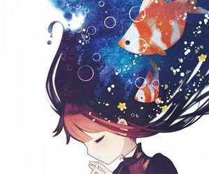 anime, fish, and anime girl image