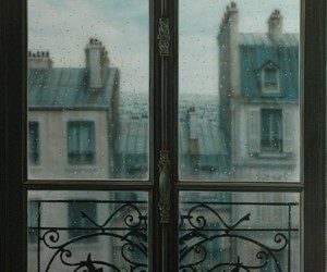 rain, window, and vintage image