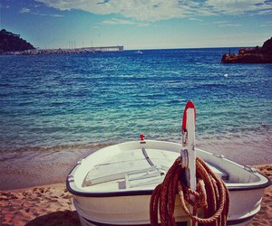 beach, boat, and sun image