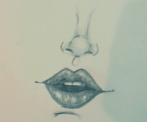 drawing, grey, and mouth image