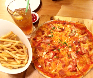 food, fries, and pizza image