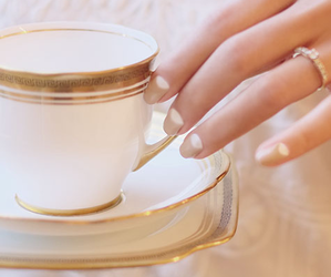 teacup, engagement, and nails image