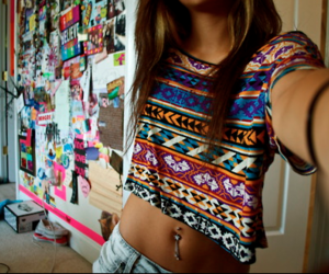 beautiful, belly button piercing, and brown hair image