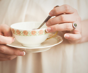 tea, teacup, and hands image