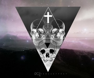 hipster, skull, and triangle image