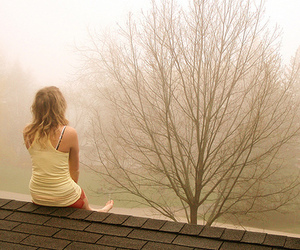 girl, tree, and roof image