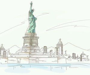 new york, sketch, and statue of liberty image