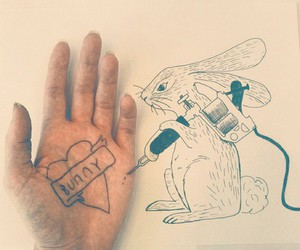 art, tattoo, and bunny image