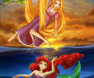disney, ariel, and rapunzel image