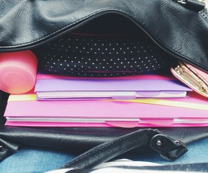 bag, notebook, and pink image