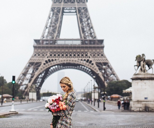 girl, paris, and flowers image