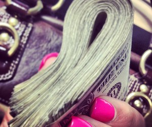 money, nails, and pink image