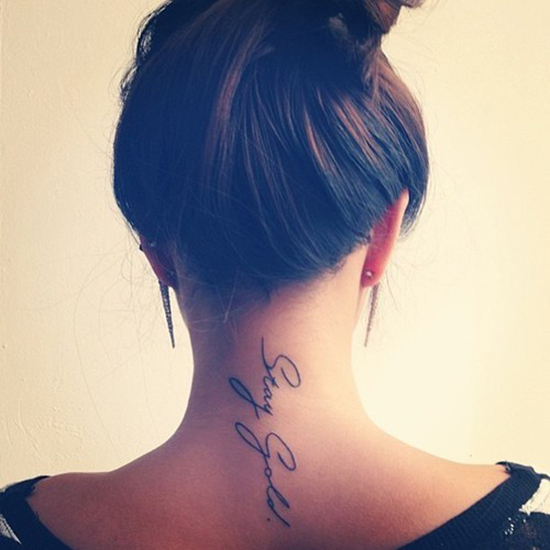 Little Nape Tattoo Saying Stay Gold Via Tumblr