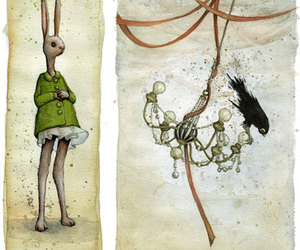 bunny, Ilustration, and chandelier image