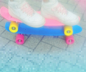 pennyboard, pastel, and shoes image