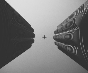 black and white, plane, and photography image