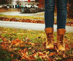 boots, fall, and leaves image