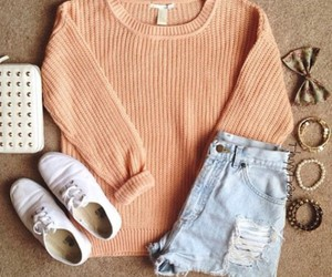 cozy, outfit, and peach image