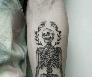 tattoo, skeleton, and skull image