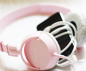 music, pink, and headphones image
