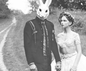 rabbit, black and white, and couple image