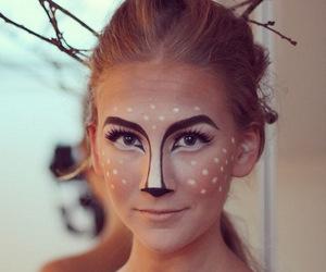 makeup, Halloween, and deer image