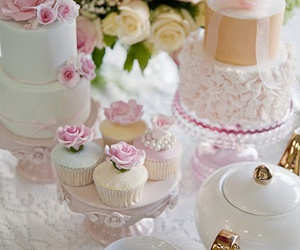 cupcake, sweet, and tea party image