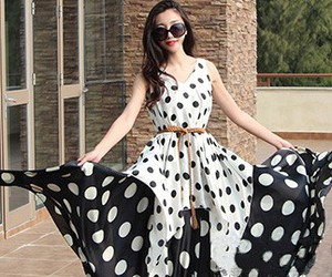 long dress, polka dots, and women's fashion image