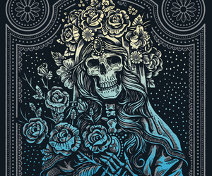 colorful, ornate, and skull poster image