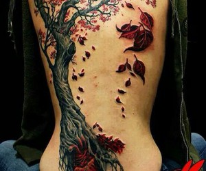 tattoo, tree, and red image