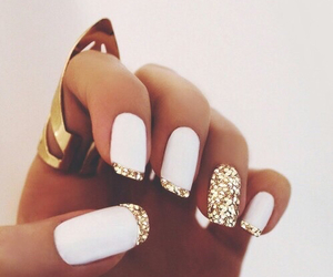 nails, white, and gold image