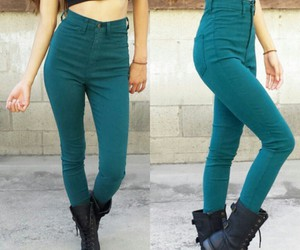 high waisted pants, black combat boots, and black crop tops image