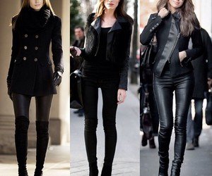 black, lady, and outfit image