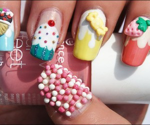 nails, ice cream, and pink image