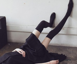 girl, black, and legs image
