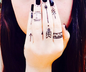 tattoo, black, and fingers image
