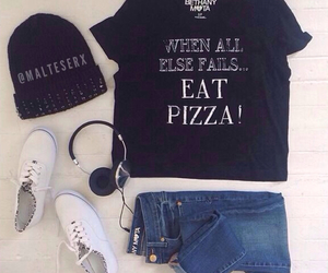 outfit, pizza, and beanie image