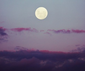 full moon, pretty, and purple clouds image