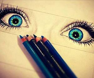 eyes, blue, and drawing image