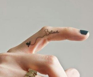 belive, finger, and tattoo image