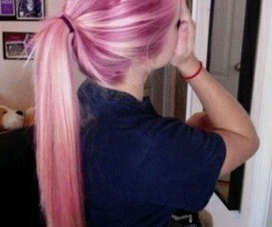 hair, hair style, and pink image
