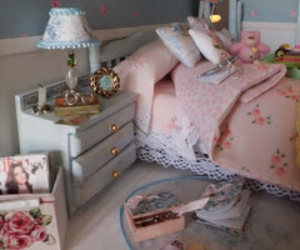 bedroom, floral, and pastel image