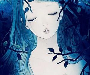 girl, blue, and anime image