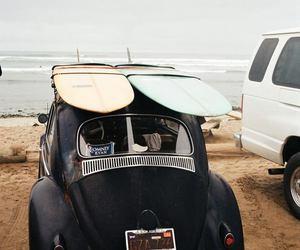 beach, car, and surf image